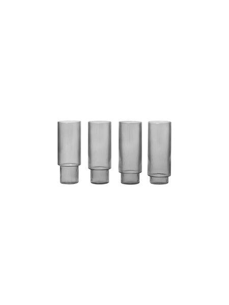 Smoked Grey Ripple Glasses Set of 4 - Long Glasses - by ferm Living