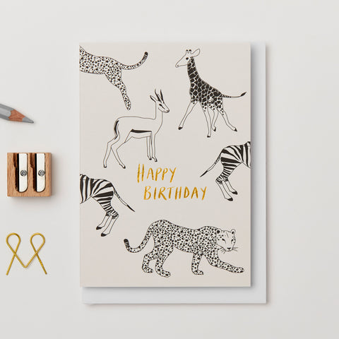 Illustrated Safari Birthday Card by Kinshipped