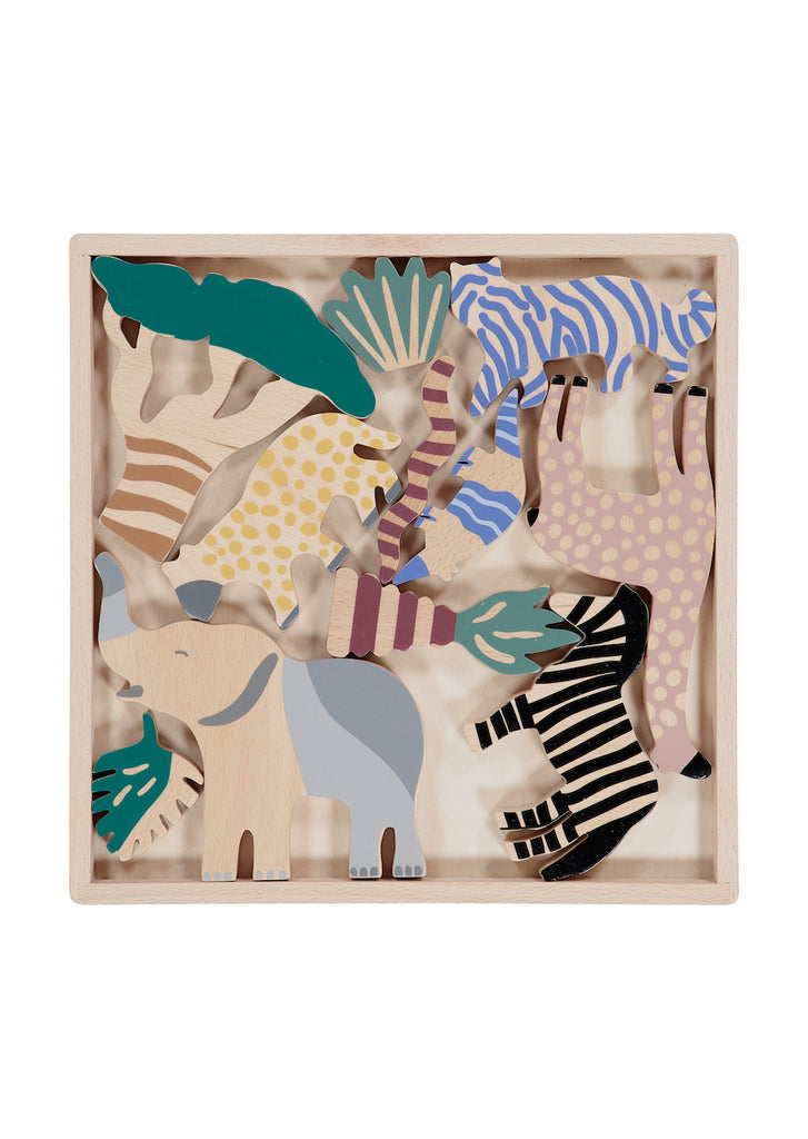 Wooden Safari Animal Shapes, 12 in Box by ferm Living Kids