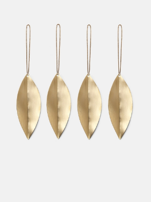 Leaf Brass Ornaments (set of 4) by ferm Living