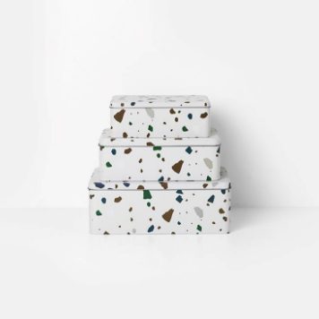 Tin Boxes - Terrazzo - Grey (set of 3) by ferm LIVING