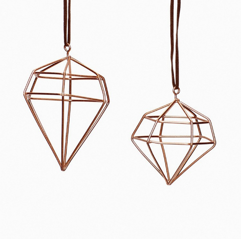 Diamond decoration, metal, copper (set 2) by Hubsch