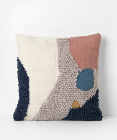 Loop cushion 'landscape' in pink & cream by ferm LIVING