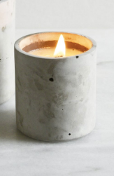 Essential Oil Candle in concrete pot with a woodwick - Cinnamon - by Havelock Studio