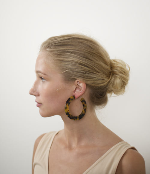 Grande Flat Hoops in Classic Tortoise by Machete