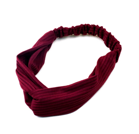 Fabric Hairband in burgundy colourway - by Weathered Penny