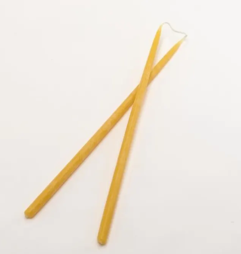 Long Thin Taper Beeswax pair 35 x 1.2cm