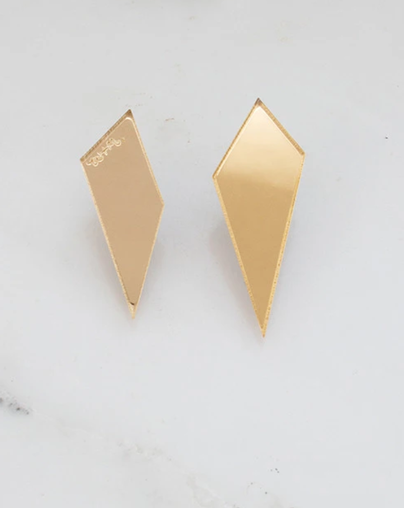 Shard Studs Earrings in Gold Mirror by Wolf & Moon
