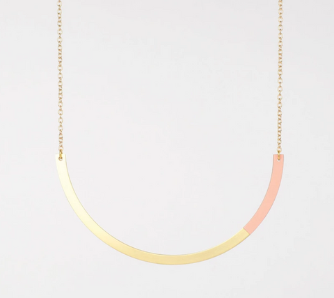 Form Circle Necklace - in Brass and Blush - Tom Pigeon