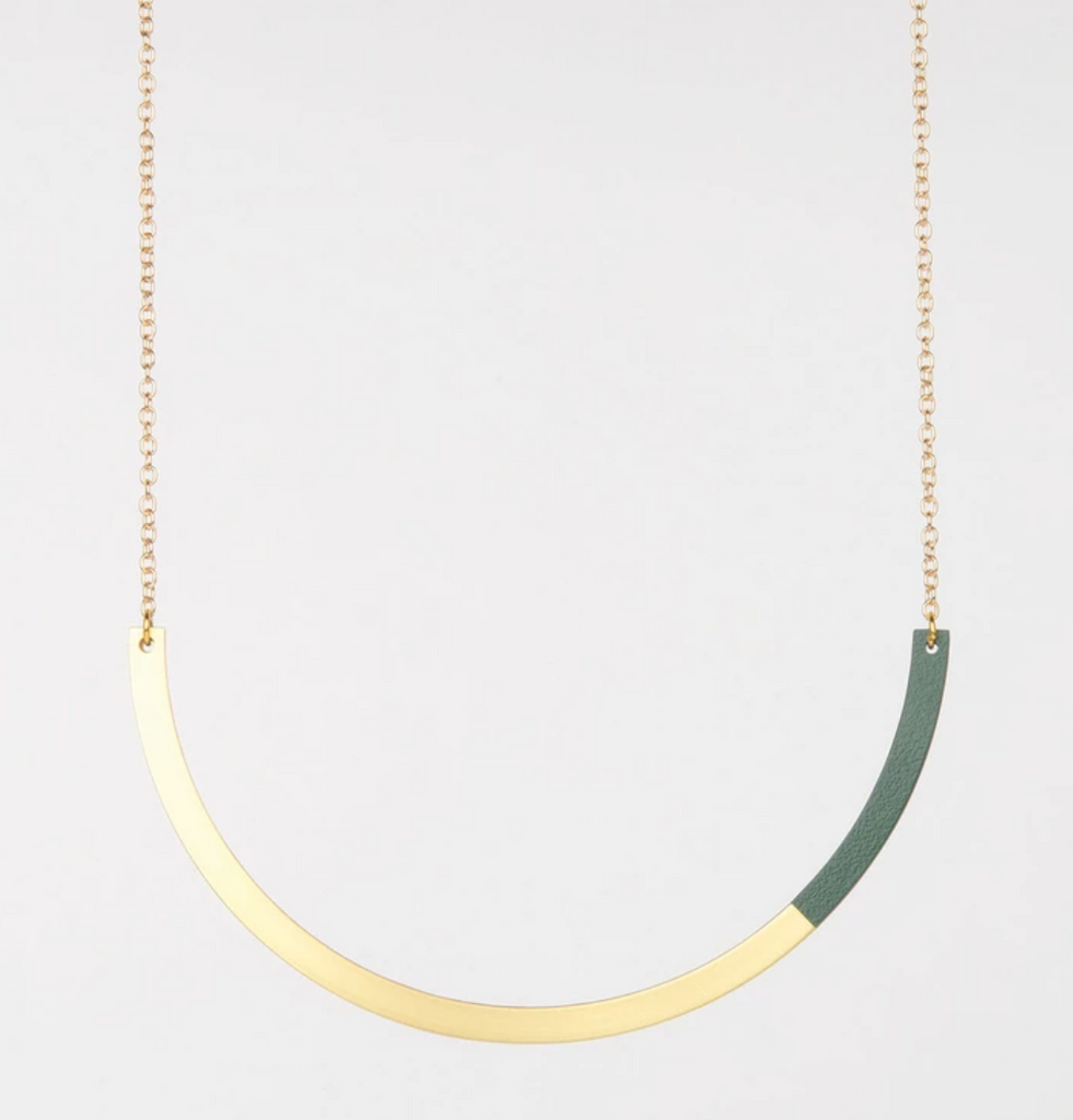 Form Circle Necklace - in Brass and Forest Green - Tom Pigeon