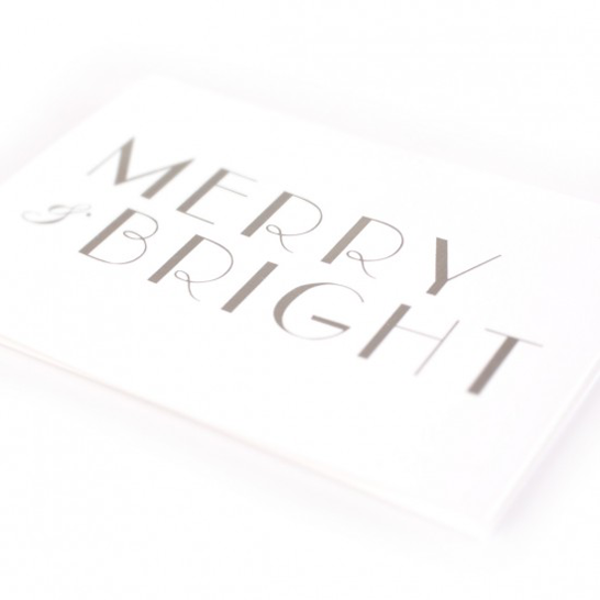 Merry and Bright card (white) by Studio Sarah context image