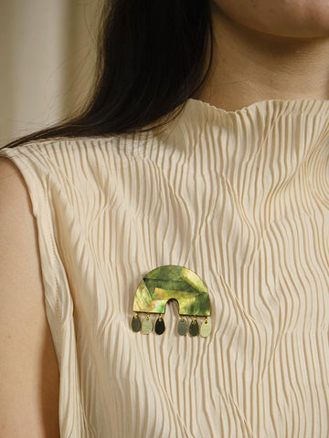 Alana Brooch - Brass & Olive Green Mother of Pearl by Wolf & Moon