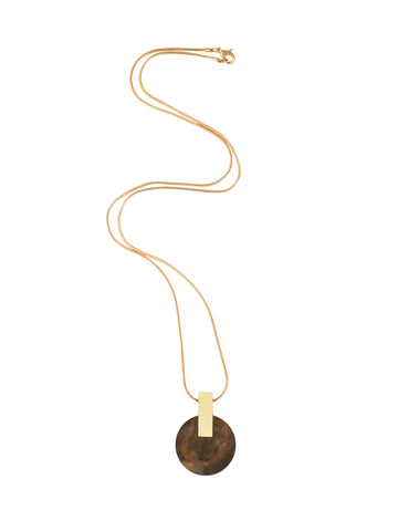 Aura necklace in Walnut Veneer by Wolf & Moon