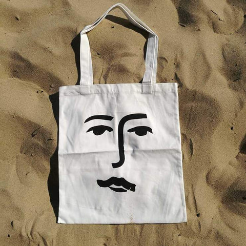 Face Line Drawing Tote Bag in Black & White by James Wilson