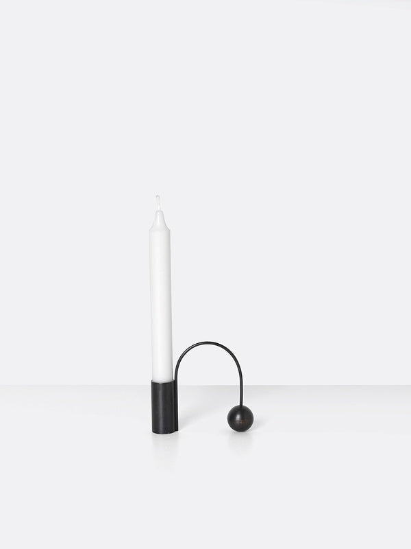 Black Brass tall candle holder 'balance' by ferm Living