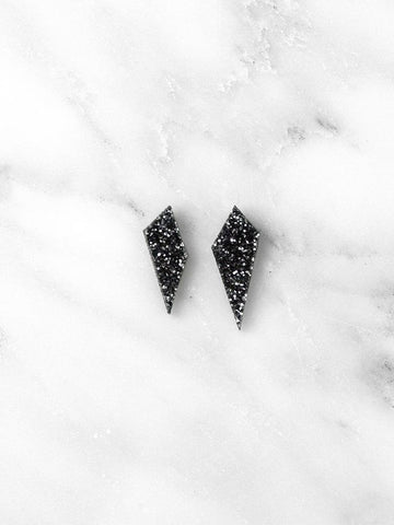 Mini Shard stud earrings - black glitter - by Wolf & Moon