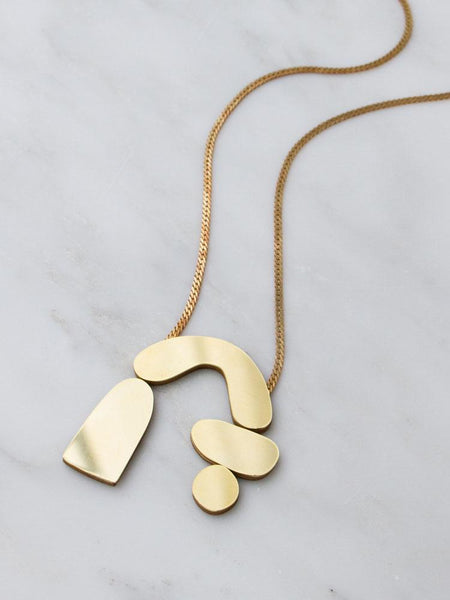 Cassia Statement Necklace - Mirrored Brass by Wolf & Moon