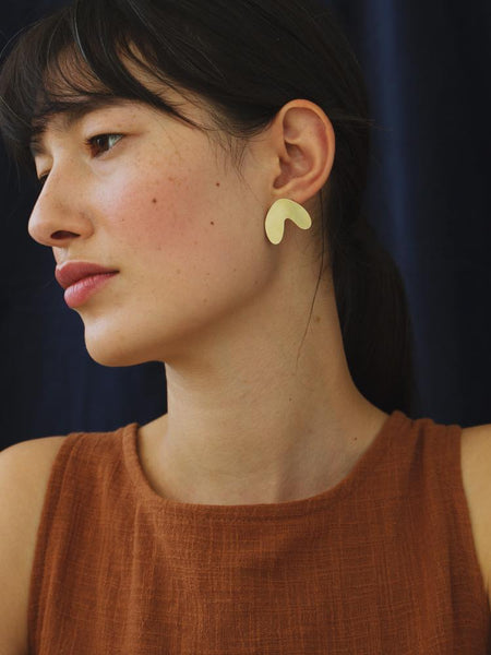 Cassia Studs - Mirrored Brass by Wolf & Moon