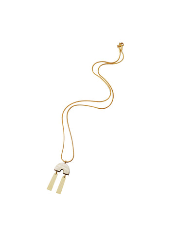 Cecilie Necklace - Mother of Pearl & Brass by Wolf & Moon
