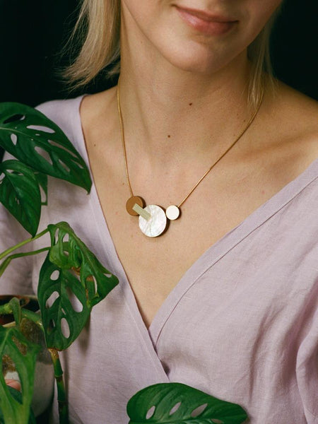 Celeste II necklace in Mother of Pearl by Wolf & Moon