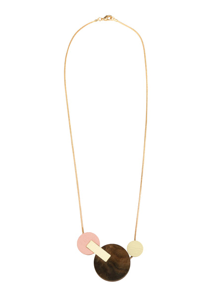 Celeste II necklace in Walnut Veneer by Wolf & Moon