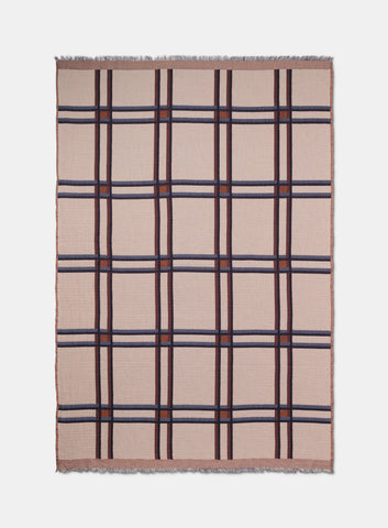 Checked Wool Blend Blanket in beige by ferm LIVING