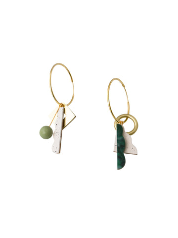 Collage Charm Hoop Earrings in Pistachio Green by Wolf & Moon