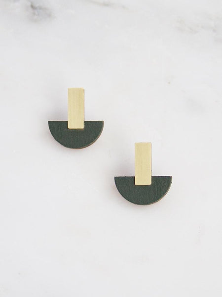 Crescent Studs - Brass & Spruce Green Wood by Wolf & Moon