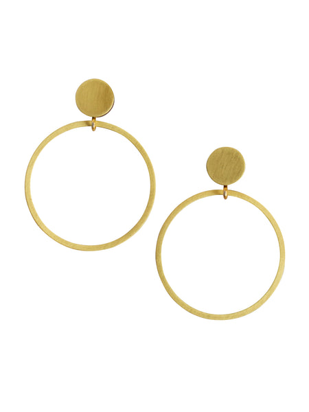 Dot Hoop stud earrings in brass by Wolf & Moon