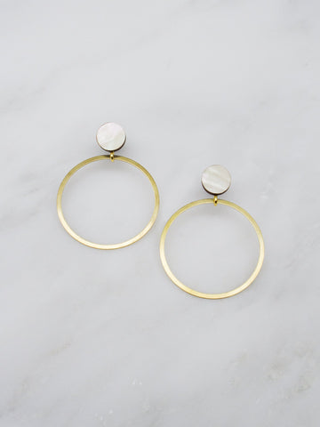 Dot Hoop stud earrings in Mother of Pearl by Wolf & Moon