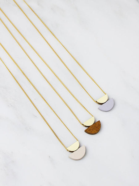 Double Crescent Necklace - Brass & Lavender by Wolf & Moon