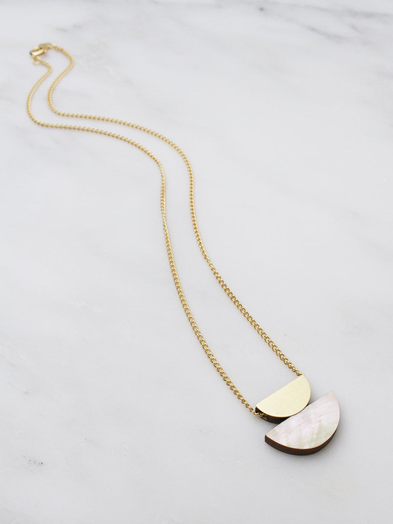Double Crescent Necklace - Brass & Mother of Pearl by Wolf & Moon