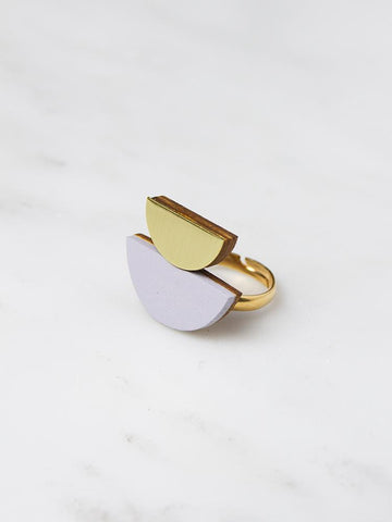Double Crescent ring - Lavender and Brass - by Wolf & Moon