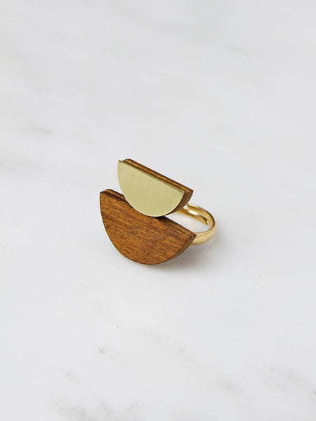Double Crescent ring - Wood and Brass - by Wolf & Moon