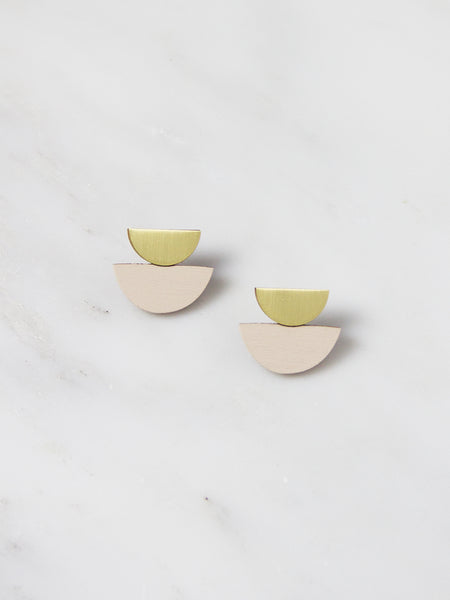 Double Crescent Studs - Brass & Ecru Wood by Wolf & Moon
