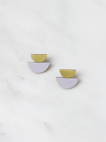 Double Crescent Studs - Brass & Lavender by Wolf & Moon