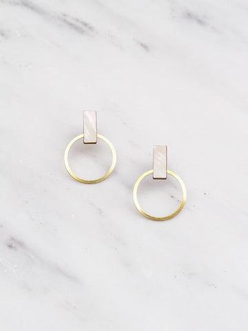 Elara studs in Mother of Pearl by Wolf & Moon