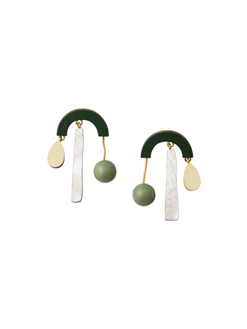 Ella Statement Earrings in Spruce Green by Wolf & Moon