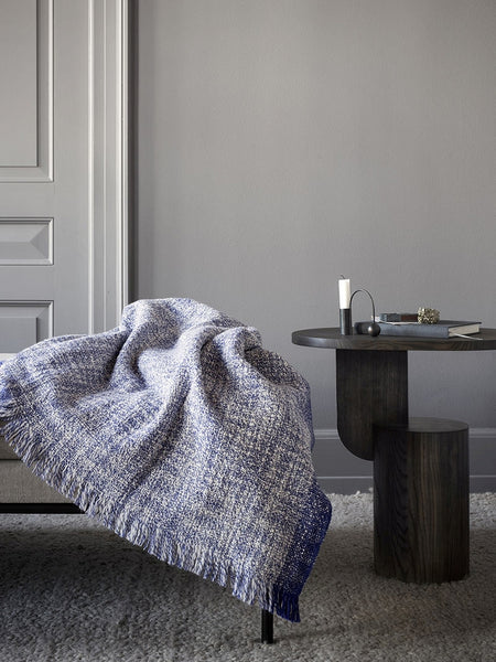 Blue wool Enfold blanket by ferm LIVING