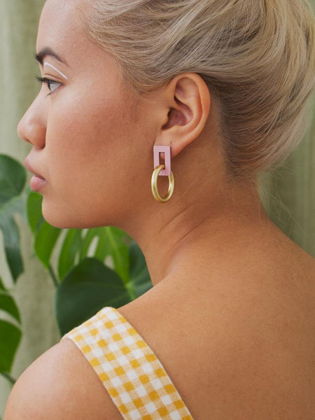 Etta Earrings in Rose Pink by Wolf & Moon