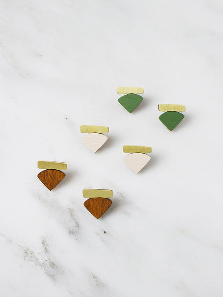 Fade Studs in brass & ecru by Wolf & Moon
