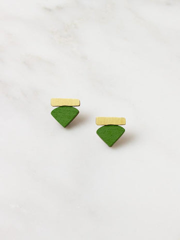 Fade Studs in brass & fern green by Wolf & Moon