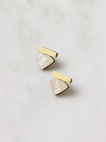 Fade Studs in brass & Mother of Pearl by Wolf & Moon