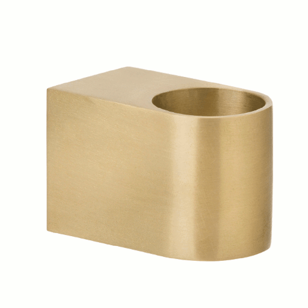 Close up Image of brass block candle holder by fermLIVING