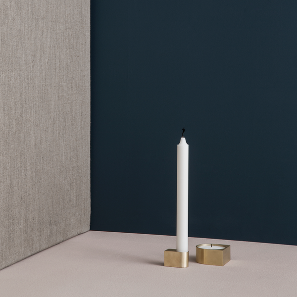 Context Image of brass block candle holder by fermLIVING