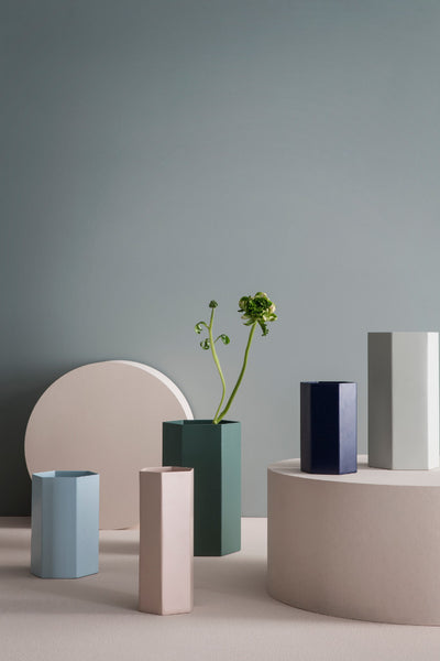 Context shot of hexagon dusty green vase by fermLIVING