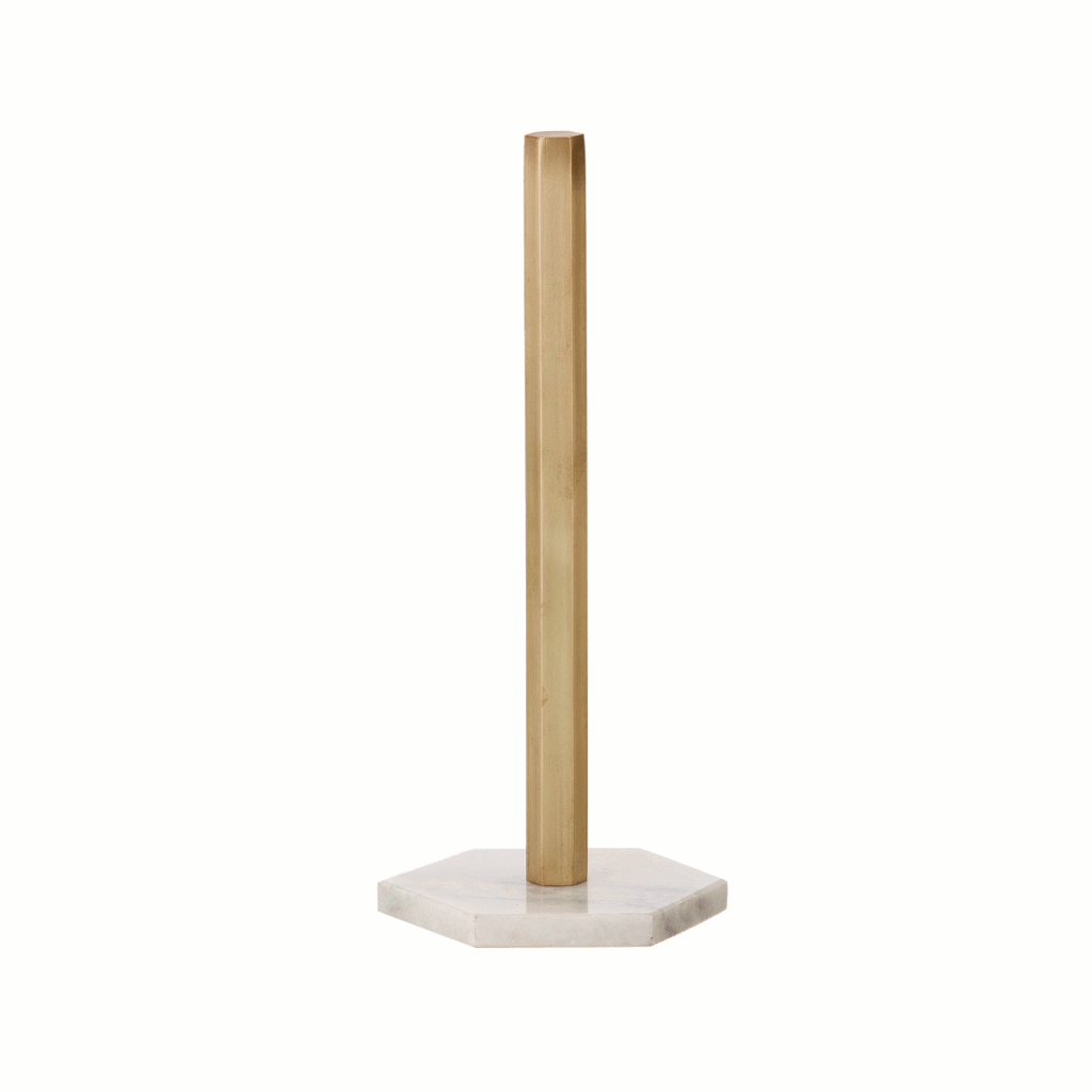 Image of kitchen roll holder in brass and marble by fermLIVING