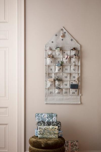 Star Advent Calendar Square - wall hung with Pockets - in Green by ferm Living