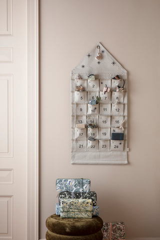Star Advent Calendar Square - wall hung with Pockets - cream / sand by ferm Living