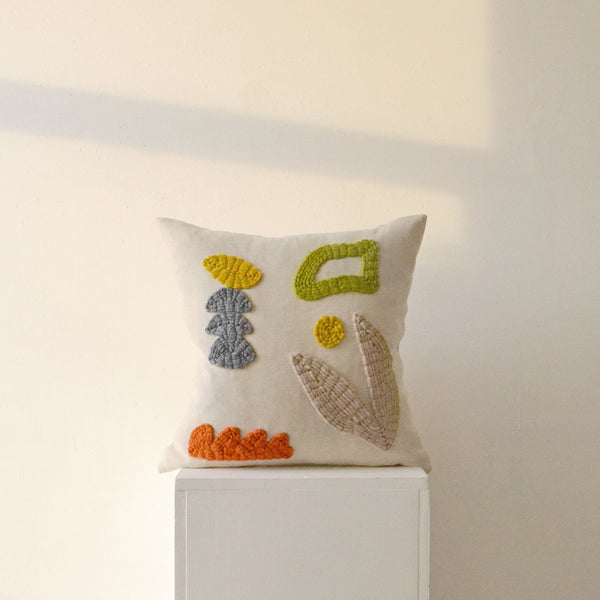 Hand Embroidered Cushion - Neutral Garden - by Laurie Maun